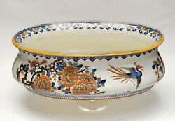 Antique 19c. French Faience Majolica Gien Polychrome Painted Jardiniere Cachepot