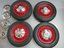 New Painted Bmw Emw 327/328 Wheels, Great Condition With Two Sets Of Hubcaps