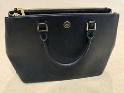 Tory Burch Large Leather Tote Work Bag Black