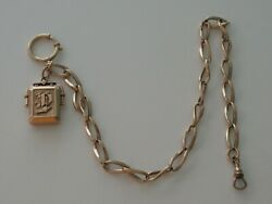 Antique 9 Ct Rose Gold Pocket Watch Albert Chain And Locket Fob 55 Grams