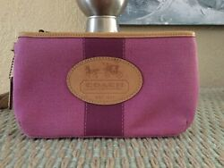 Coach Pink Fabric Wristlet Vintage New W Pink Leather Trim Rarely Seen For Sale
