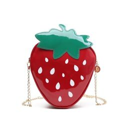 Strawberry Chain Shoulder Bags Women Patent Leather Crossbody Bag $4.99