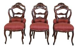Lf49234ec Set Of 6 Antique Victorian Walnut Carved Dining Room Chairs