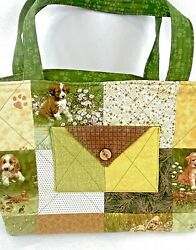Quilted Women's Purse Tote Handbag Handmade Puppy Dogs Paw Prints Green Yellow $21.97