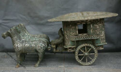 30 Ancient China Dynasty Old Antique Bronze Silver 4 Horse Pull Man Car Statue