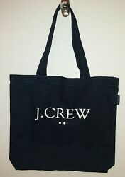 J. CREW Navy Blue LOGO Canvas Beach Shopping Tote Bag NWT $18.00