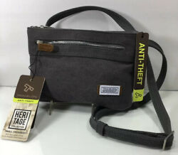 Travelon Anti Theft Heritage Small Crossbody Pewter Bag NWT Canvas $29.99
