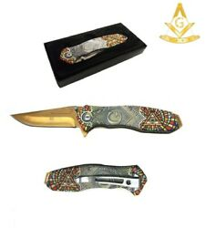 8 Masonic Vintage Spring Assisted Pocket Knife Square And Compasses Gold Blade