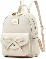 Girls Bowknot Cute Leather Backpack Mini Backpack Purse for Women $45.22