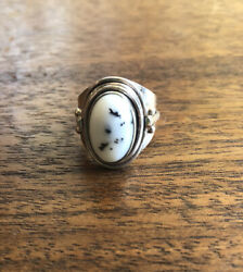 Arts And Crafts Style Moss Dendritic Agate Nouveau Ring Vintage Sterling 925