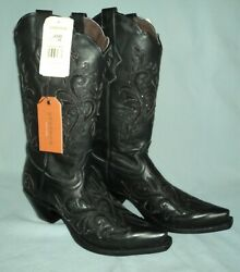 Womens Stetson Black Leather Snip Toe Cowboy Boots Size 8 1/2