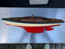 Vintage Toy Boat Seifert-boot Made In Germany Wood Plastic 18 Length Red/brown
