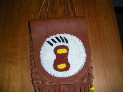 Vintage Native American Leather Handmade Beaded Medicine Bag Pouch Bear Claw
