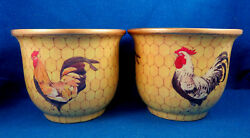Fitz And Floyd Four Rooster/chicken Wire Pattern Flower Pots/cachepots- Estate
