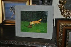 Vintage Fox On The Hunt , By Holt   Beautiful Oil Painting