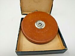 Lufkin No. 206 Usa Antique 100and039 Steel Tape Measure Leather Case Dec 1907 W/ Box