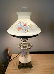 Vintage Hurricane Gwtw Lamp Floral Hand-painted Shade And Base Green Estate Sale
