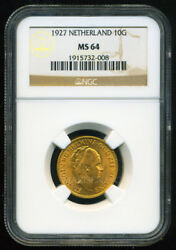 Netherlands 1927 Gold Coin 10 Gulden Ngc Certified Genuine Ms 64 Awesome
