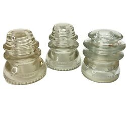 Lot Of 3 Vintage Hemingray 56 42 Insulators Made In Usa Clear Glass 10-52 11-48