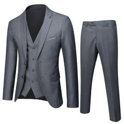 Menand039s Slim Fit Two Button Suit Business Casual Wedding Dress 3pcs Groom Formal L