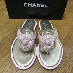 Authentic Pink Tweed Tong Beach Sandals Size 38 About 24.5 To 25cm Used