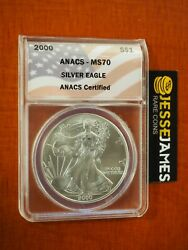 2000 1 American Silver Eagle Anacs Ms70 Flag Label Better Date
