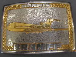 Braniff Airlines Silver Tone Belt Buckle Gold Tone Accents Engraved Dennis