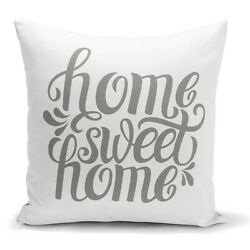 2PCs HomeSweetHome Decorative Throw Pillow Covers 18 x 18 Light Gray and White