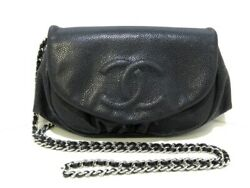 Auth CHANEL Half Moon A40033 Black Caviar Skin Other Style Wallet