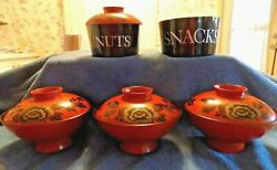 Vintage 1970's Japanese Laquered Lidded Rice Bowls Plus 2 Nuts And Snacks Bowls