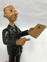 Vintage Judaism Wooden Rabbi Figurine Roney Italy With Yamekah In Hand 12.5