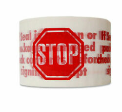 1-4-6-12-36-72 Rolls 2 X 110 Warning White Stop Sign Printed Packing Tape 2 Mil