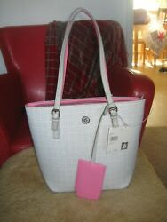 Gorgeous Anne Klein Pocket Tote Light Gray w Hot Pink Trim Hand Bag $39.99