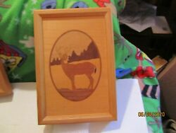 Hudson River Inlay Marquetry Deer Picture No 41 By Nelson Usa