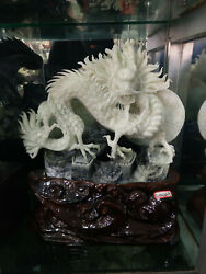 15 China Natural Dong Bei Xiuyu Jade Carving Fengshui Dragon Loong Beast Statue