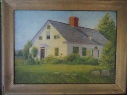 Antique American School Landscape Oil On Canvas F.l Butler With Frame