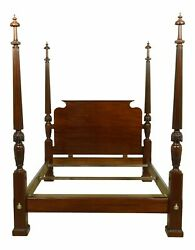 Baker Queen Size Mahogany Carved Poster Bed