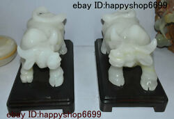 China Stone Jade Carving Fengshui 12 Zodiac Year Animal Ox Bull Oxen Statue Pair