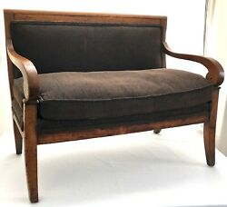 An Early 19th C. Antique 1840and039s Biedermeire Childand039s Mahogany Sofa - Doll And Bear