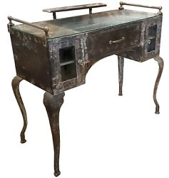 Antique French Early 20th C. Industrial Metal Vanity Dressing Table