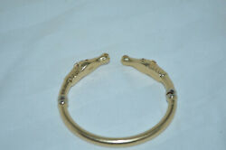 14k Solid Gold Equine Bangle Bracelet 2 Horses With Ruby Eyes 23.4 Gr Weight