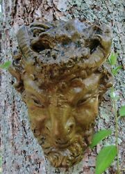Satyr/pan, Garden Art, Concrete Decorative Plaque For Indoor And Outdoor Use