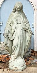 Madonna Virgin Mary Concrete Antique Statue Large Garden 1930s Weathered 24