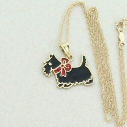 14k Yellow Gold Scottish Terrier Black and Red Enamel Necklace  18