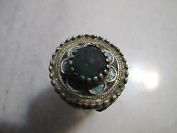 Antique Late Byzantine ,pre Georgian Gold Plated Silver Enamel Ring