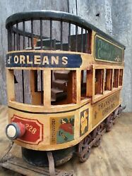 Vintage French Wood And Cast Iron Double Decker Street Trolley Display Model, 26