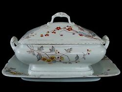 Outstanding Antique Fandm Fisher And Mieg Ironstone Covered Casserole Bowl And Platter