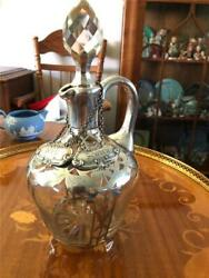 Fabulous Silver Overlay Liquor Decanter And Two Sterling Silver Decanter Tags
