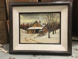 The Milk Wagon Oil Painting Of Snow-topped Wood Cabin By James E. Mcnair
