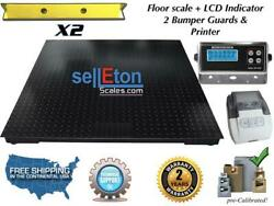 Floor Scale 60 X 60 With 2 Bumper Guards And Printer 10000 Lbs X 1 Lb